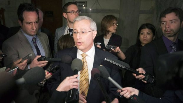 Nipissing MPP Victor Fedeli, the PC Energy Critic, is seen speaking to the media about the controversial cancellation of two Ontario gas plants. On Thursday, Fedeli said the Liberals should be investigated for theft following revelations that senior staff deleted emails about the gas plants as recently as January.