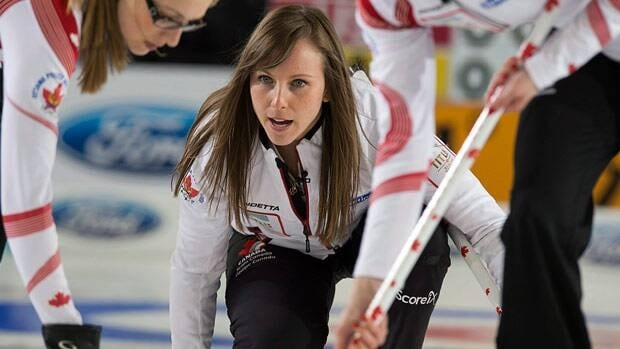 Canada's skip Rachel Homan, seen during Monday's evening draw, is competing in her first world championship.