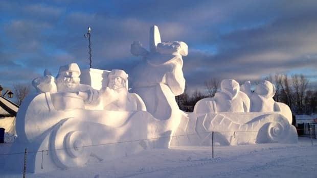 Fading sunlight on snow sculptures at Winnipeg's Festival du Voyageur, Friday evening.