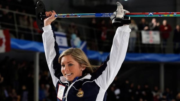 Eve Muirhead, shown here at the women's curling worlds last month, booked her spot in the final of the Players' Championship on Saturday.