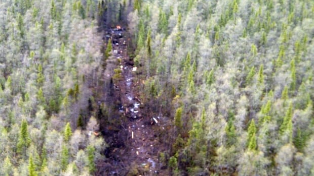 The Transportation Safety Board released this picture of the Ornge helicopter crash site near Mooseonee on Friday.