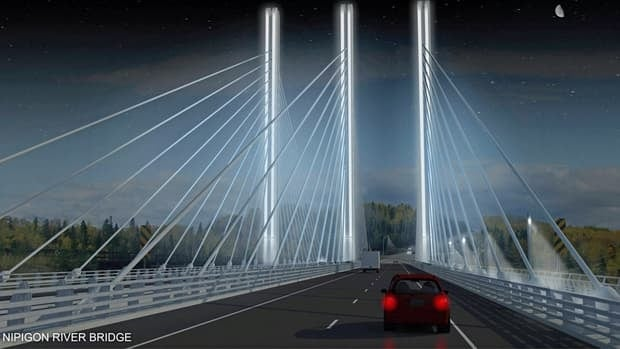 According to the province, the Nipigon River bridge will be illuminated, highlighting the bridge's appearance at night.