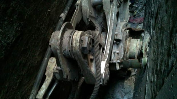 A part of a landing gear believed to be from one of the commercial airliners destroyed on Sept. 11, 2001 has been discovered wedged between two buildings in lower Manhattan.