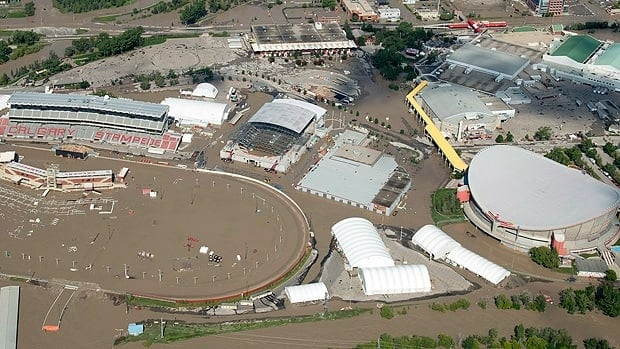 A flooded Calgary Stampede stadium and Saddledome are seen at the height of the flooding.