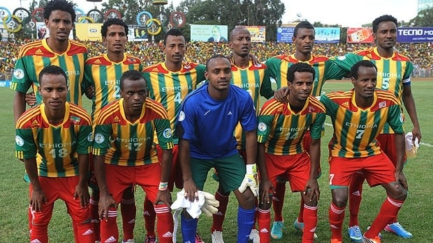 Ethiopia's national football team poses before the its match Saturday against South Africa.