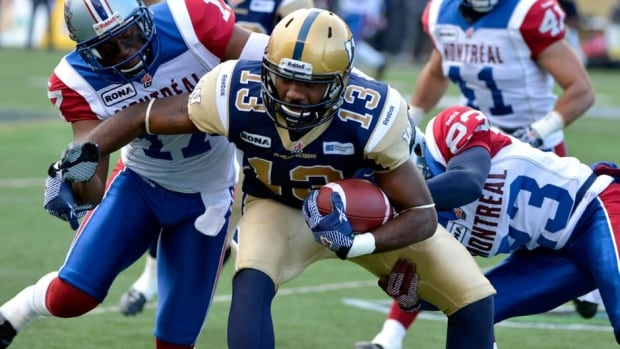 Winnipeg Blue Bombers' Chris Matthews, centre, remains a question mark against the Montreal Alouettes on Thursday.
