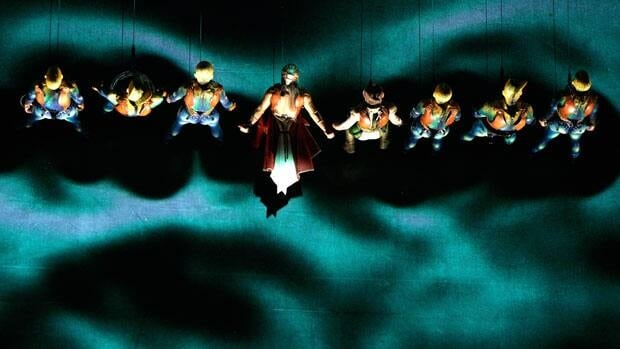 The final fight scene is performed on a vertical stage during Cirque du Soleil's KÀ at MGM Grand Resort in Las Vegas.