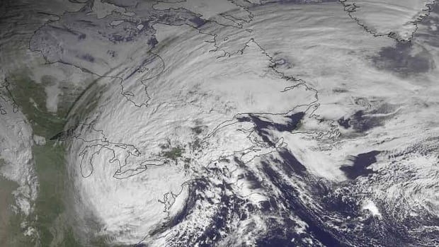 This satellite image taken Oct. 30, 2012, shows superstorm Sandy slowly moving westward while weakening across southern Pennsylvania.