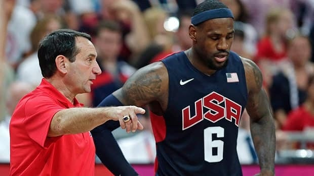 Mike Krzyzewski advises LeBron James during the 2012 Olympics in London.