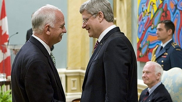 Vic Toews, left, who was sworn in as public safety minister in 2011, is one of the ministers likely to leave cabinet in Prime Minister Stephen Harper's next shuffle, expected soon.