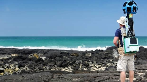 Daniel Orellana collects seashore imagery with the Street View Trekker Isabela Island in the Galapagos.