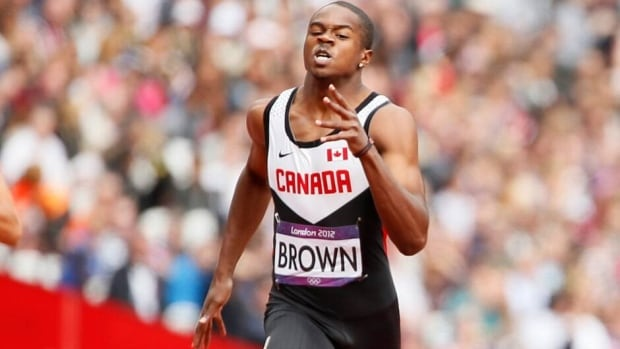 Canada's Aaron Brown, shown here competing at the 2012 London Games, won the men's 100-metre race at the Canadian track and field championships on Saturday in Calgary.