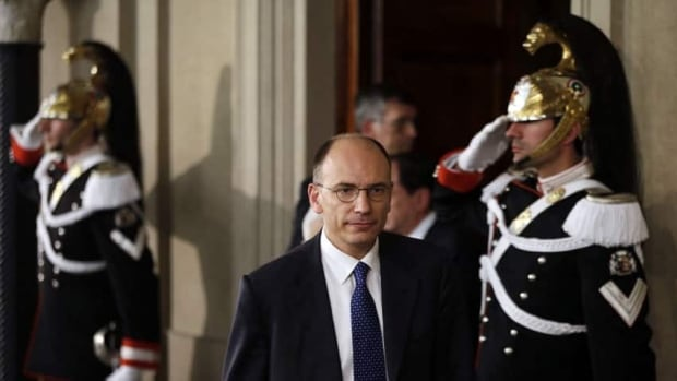 Enrico Letta is charged with putting together a coalition government of the Democratic Party and the centre-right party of Premier Silvio Berlusconi.