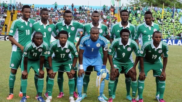 Nigeria's national team poses during a World Cup qualifying match against Kenya on March 23.