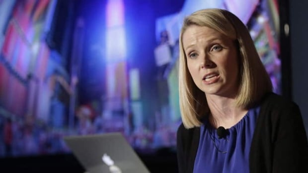 Yahoo CEO Marissa Mayer speaks during a news conference in New York. Earnings reported Tuesday were lacklustre.