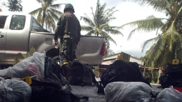 Marines killed 16 insurgents during a militant assault on their base in Narathiwat province Thailand Wednesday.