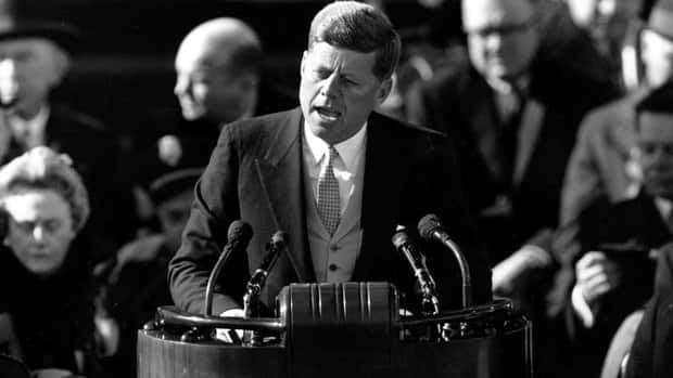 U.S. President John F. Kennedy delivers his inaugural address at the Capitol in Washington on Jan. 20, 1961. He wore no coat despite the cool temperatures that day to signal the youth and vitality of his incoming administration.