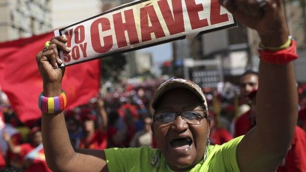 A rally supporting Venezuelan President Hugo Chavez in Caracas, Venezuela. Chavez remained on his sickbed in Cuba, Thursday, on the day he should have been sworn in for a new six-year term.