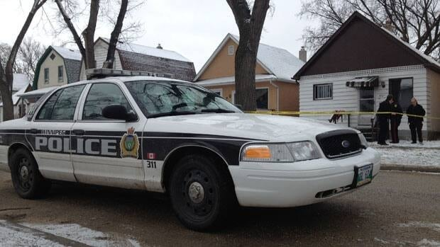 Winnipeg police investigate an early morning stabbing on Bannerman Ave. Wednesday.