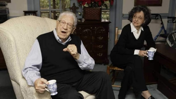 George Beverly Shea, left, is shown with his wife, Karlene, in his North Carolina home on Jan. 13, 2009. He died Tuesday at age 104.