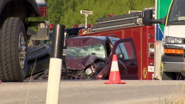 Eight people were injured, one critically, in a three-vehicle crash on Springbank Road on Sunday.