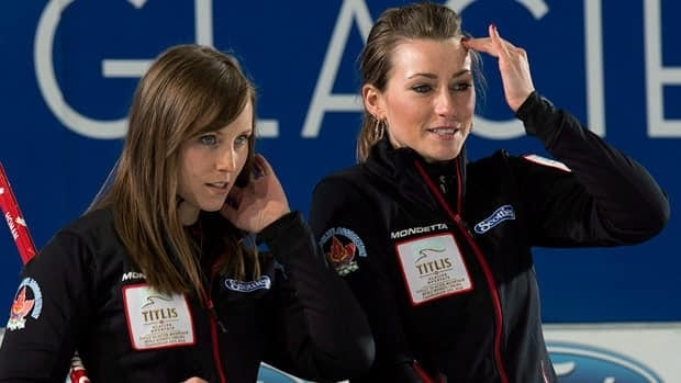 Canada's skip Rachel Homan, left, and third Emma Miskew follow the action earlier this week in Riga.