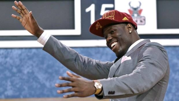 UNLV's Anthony Bennett celebrates after being selected first overall by the Cleveland Cavaliers in the first round of the NBA basketball draft.