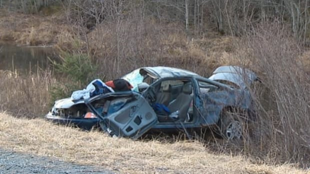 RCMP said this car rolled several times on Highway 102 on Thursday evening.