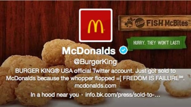 This frame grab taken on Feb. 18 shows what appears to be Burger King's Twitter account after it was apparently hacked.