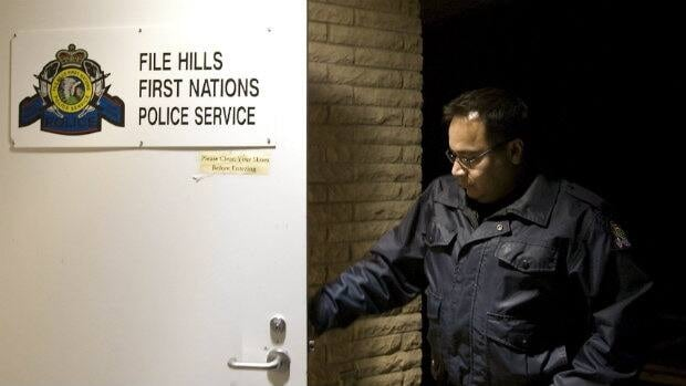 File Hills First Nations Police Const. Dale McArthur arrives at work near Fort Qu'Appelle, Sask.