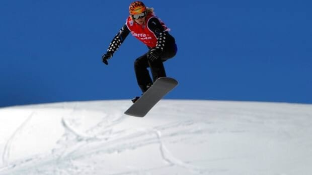 Dominique Maltais competes in the snowboard cross at Sierra Nevada near Granada, Spain.