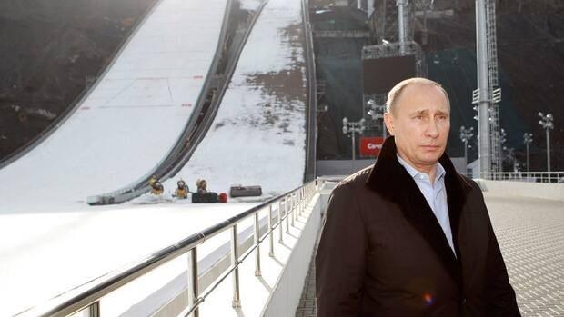 Russian president Vladimir Putin visits the 'RusSki Gorki' Jumping Center at the Krasnaya Polyana resort near the Black Sea city of Sochi, on February 6, 2013.