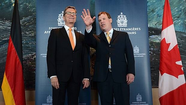 Minister of Foreign Affairs John Baird, right, met with Germany's Minister of Foreign Affairs Guido Westerwelle in Ottawa Thursday. Both expressed support for a Canada-EU trade deal that is said to be in its final stages of negotiation.