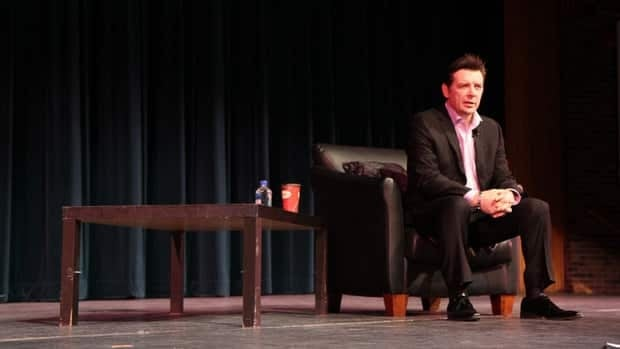 Theo Fleury describes the moments before his suicide attempt at his former home in Santa Fe to attendees at Mohawk College's Mental Health Expo Wednesday.