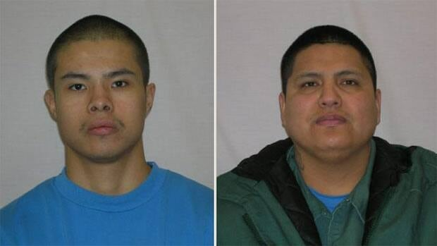 Brandon White, on the left, and Royce Bear are being sought as escapees.