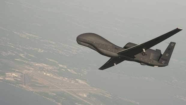 A Northrop Grumman RQ-4 Global Hawk unmanned aerial vehicle flies over Naval Air Station Patuxent River, Maryland. The UN signed a deal with an unnamed company Friday to provide UAVs for use over war-torn Congo.