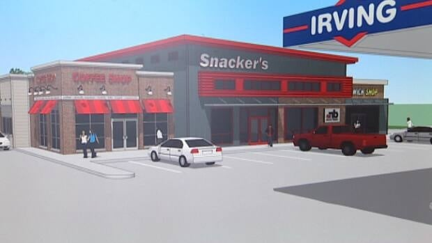 A conceptual drawing of a proposed gas station and NB Liquor agency store in Hanwell.