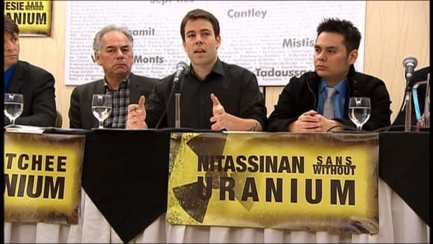 Anti-uranium coalition spokesman Ugo Lapointe is flanked by Shawn Iserhoff, youth council chief of the Mistissini Cree and, to his right, by Ghislain Picard, Chief of the Assembly of First Nations of Quebec and Labrador.