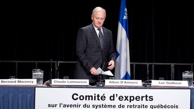 Alban D'Amours, president of a committee studying Quebec's retirement system and its future, unveiled his report today in Quebec City.