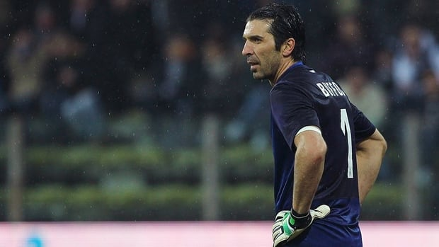 Gianluigi Buffon of Juventus FC shows his dejection during the Serie A match between Parma FC and Juventus FC at Stadio Ennio Tardini on Sunday in Parma, Italy.