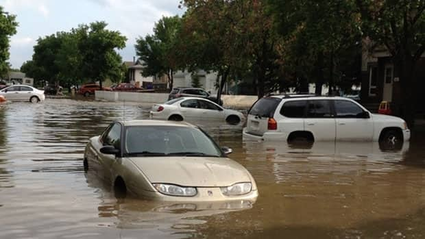 Sangster Blvd. in Regina was hit hard by the deluge.