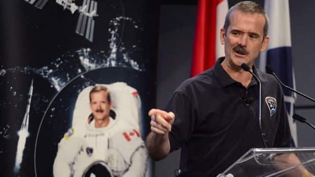 Canadian astronaut Chris Hadfield speaks at a news conference in Longueuil, Que., Monday, June 10, 2013, where he announced his plans to retire from the Canadian Space Agency.