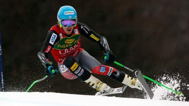 Ted Ligety speeds down the course on his way to win an alpine ski, men's World Cup giant slalom, in Kranjska Gora, Slovenia on Saturday.