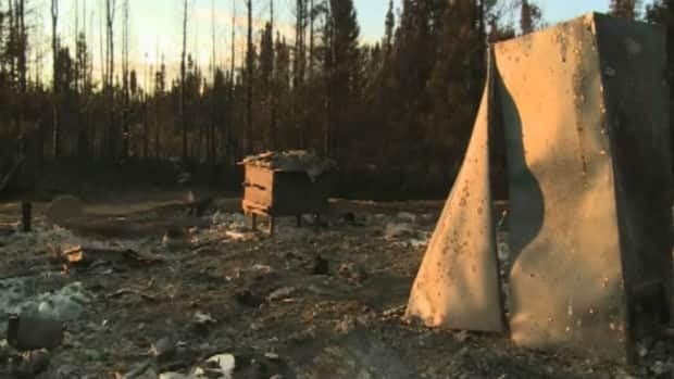 The burned remains of the cabin Patrick Beson's grandfather built in western Labrador.