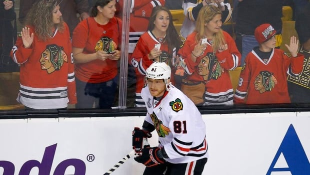 Chicago Blackhawks right wing Marian Hossa skates during the warmup bahead of Game 3 of their Stanley Cup finals against the Boston Bruins. Hossa was a late scratch after the pre-game skate with an upper-body injury.