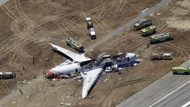 This aerial photo shows the wreckage of the Asiana Flight 214 airplane after it crashed at the San Francisco International Airport Saturday, July 6.