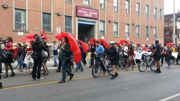 Protesters march through Toronto on Saturday.