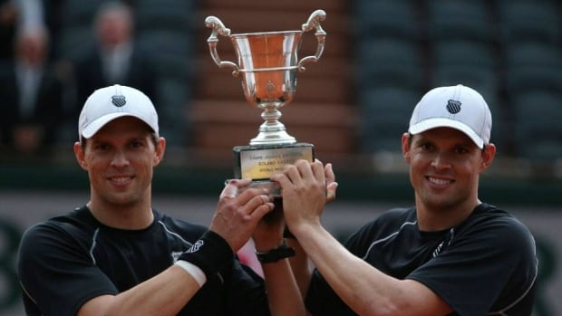 Bob, left, and Mike Bryan won the French Open today for the second time. Their first triumph was in 2003.