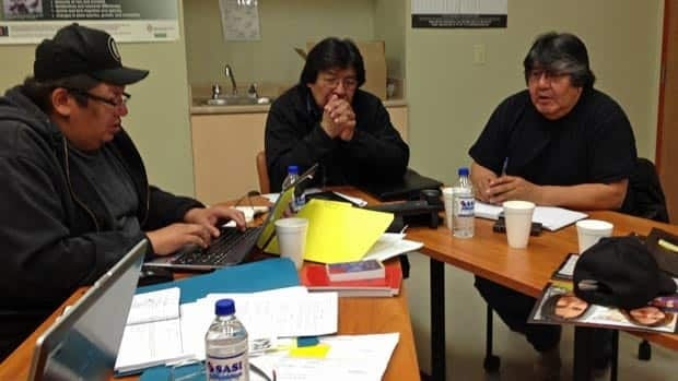 The state of emergency in Neskantaga prompted daily conference calls with officials from all levels of government. Emergency response co-ordinator Chris Moonias (left), Chief Peter Moonias (centre) and Matawa CEO David Paul Achneepineskum (right) took the call from the band office last week.
