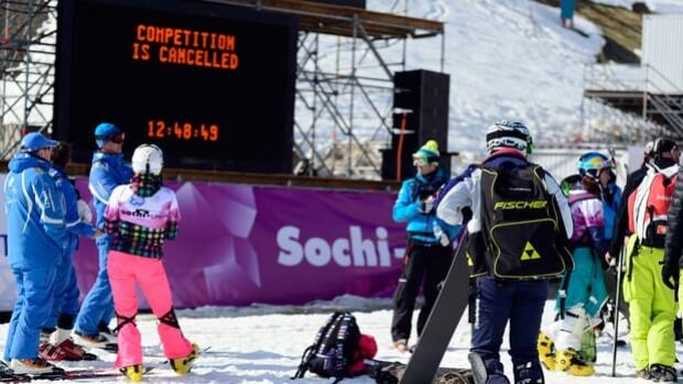 Competitors linger at the Snowboard and Free Style Centre in Rosa Khutor, Russia, on Friday.